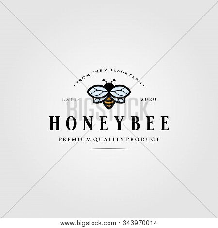 Vintage Bumblebee Logo Village Farm Vector Illustration Design