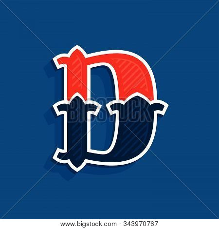 D Letter Logo In Classic Sport Team Style. Vintage Vector Font For Your Posters, Sportswear, Club T-