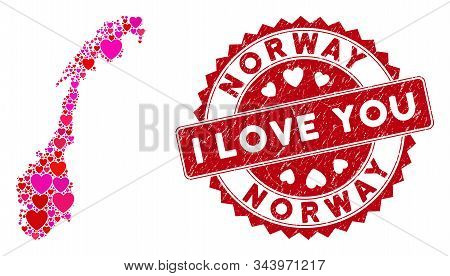 Love Collage Norway Map And Corroded Stamp Seal With I Love You Caption. Norway Map Collage Construc