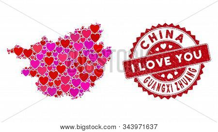 Valentine Collage Guangxi Zhuang Region Map And Distressed Stamp Seal With I Love You Badge. Guangxi