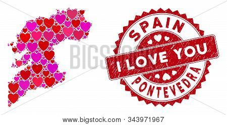 Love Collage Pontevedra Province Map And Rubber Stamp Watermark With I Love You Caption. Pontevedra