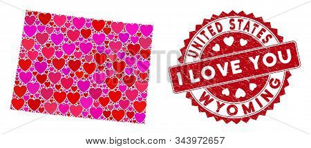 Love Collage Wyoming State Map And Grunge Stamp Seal With I Love You Text. Wyoming State Map Collage