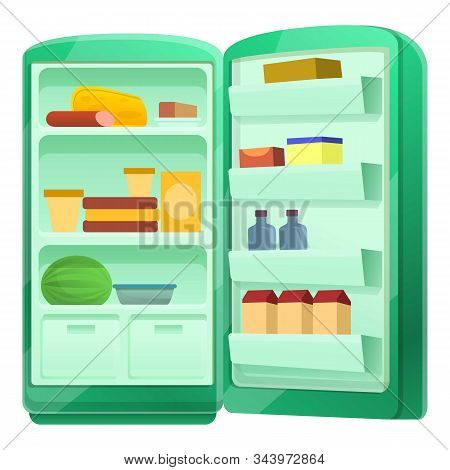 Open Fridge With Food Icon. Cartoon Of Open Fridge With Food Vector Icon For Web Design Isolated On