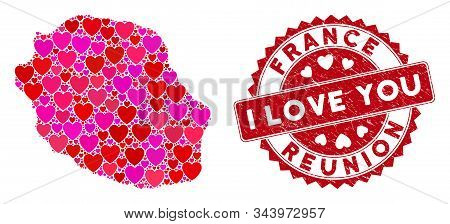Love Collage Reunion Island Map And Distressed Stamp Watermark With I Love You Phrase. Reunion Islan