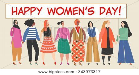 Vector Banner With A Group Of Women Holding A Big Placard With Congratulations To The International