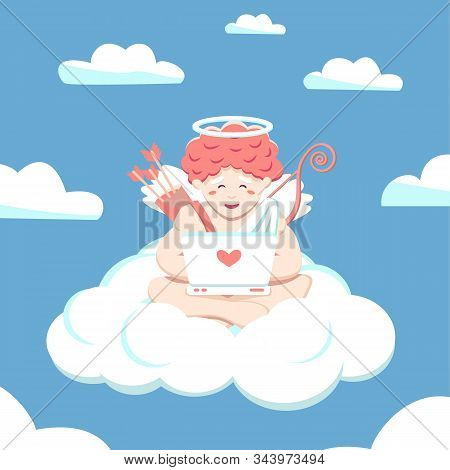 Office Of Cupid In The Sky, Paradise. Amur Works At A Laptop Sitting In Lotus Position. Vector Flat