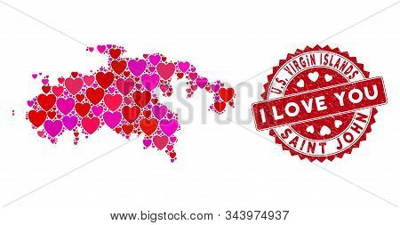 Love Collage Saint John Island Map And Corroded Stamp Watermark With I Love You Phrase. Saint John I