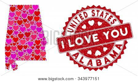 Love Collage Alabama State Map And Corroded Stamp Watermark With I Love You Caption. Alabama State M