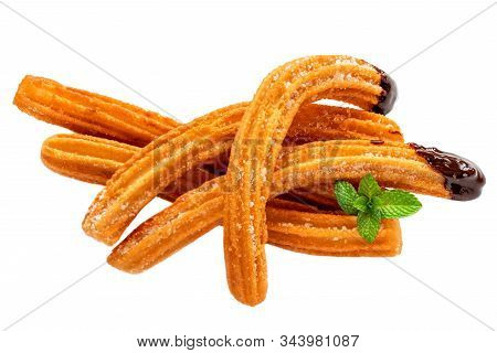 Churros Isolated.  Fried Dough Pastry With Sugar And Chocolate Sauce Dip  On A White Background. Chu