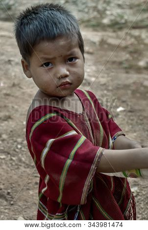 Mae Hong Son, Thailand - Jan 22, 2010 : Refugee People, A Refugee Little Boys In Temporary Shelter A