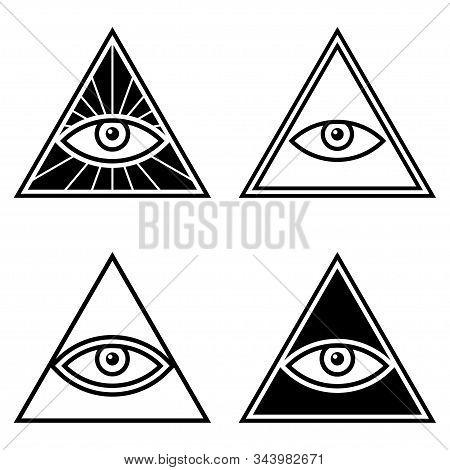 Occult Illuminati Masonic Symbols. Eye Of Providence In Triangle Icon