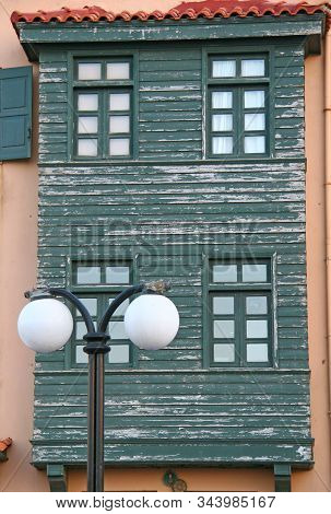 Detail Of Original Green Building In Rethymno, Venetian Style City In Crete, Greece