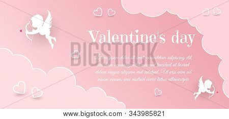 Valentine's day, Valentine's Day background, Valentine's day banners, Valentines Day flyer, Valentines Day design, Valentines Day with Heart on black background, Copy space text area, vector illustration. Happy Valentines Day card with hearts, cupids and