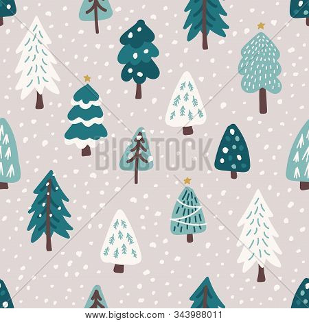 Cute Scandinavian Christmas Tree Seamless Pattern Background With Hand Drawn Snowy Fir Trees Forest