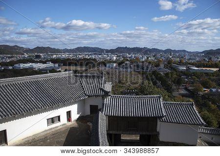 Himeji, Japan- 30 Nov, 2019: Aerial View Of Himeji Residence Downtown From Himeji Castle In Hyogo Ka