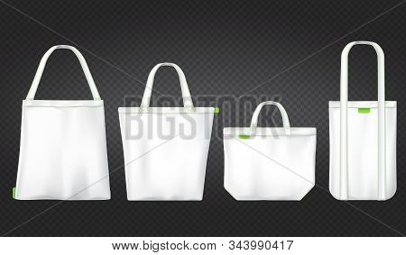 Tote Canvas Bags For Shopping. Vector Mockup Of Realistic White Reusable Cotton Ecobags Different Sh
