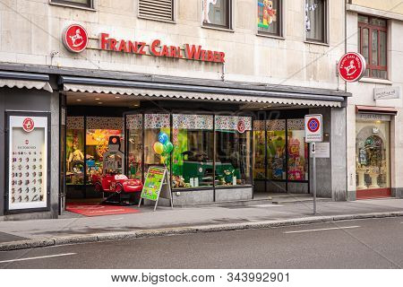 Basel, Switzerland - March 31, 2018: Franz Carl Weber Shop In Basel. It Is A Company In The Swiss To