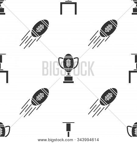 Set American Football Goal Post, Award Cup And American Football Ball And American Football Ball On
