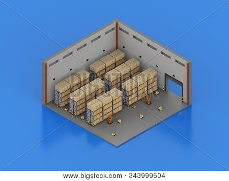 3d Rendering Automation Cyborgs Work In Warehouse Isometric