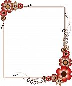 A brown and red rectangular flowery frame vector illustration poster