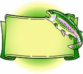 Rainbow trout T-Shirt design template that is color separated for silk screening or screen printing on apparel poster