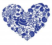 Heart Is Made Of Fishes, Korals, Shells, Starfishes, Dolphins, Seahorses, Tortillas poster