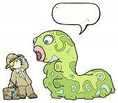 cartoon adventurer and giant caterpillar poster