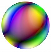 Bright ball with the many-colored spotty surface against the white background. Illustration. poster