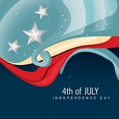 stylish wave 4th of july vector poster