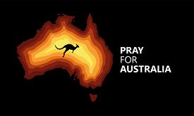 Australia Fire. Social Poster About Climte Cataclysm. Kangaroo Runs From The Fire On A Background Of