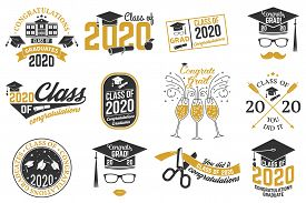 Set Of Vector Class Of 2020 Badges. Concept For Shirt, Print, Seal, Overlay Or Stamp, Greeting, Invi
