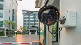 Cctv Security Surveillance Camera System For Domestic Life In Modern City.surveillance Cameras On Th
