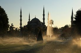 Blue Mosque At Fall Season In Istanbul, Turkey