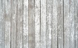 Gray And White Old Wood Plank Texture Background. Top View Of Weathered Wooden Table. Vintage Wood A