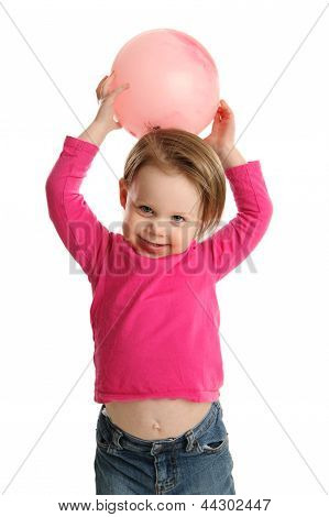 Young Girl Holding Ball Showing Navel