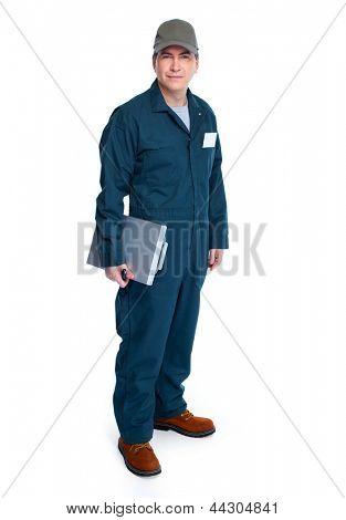 Professional Auto mechanic. Isolated on white background.
