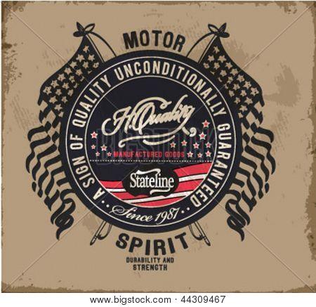 retro illustration badge label for apparel