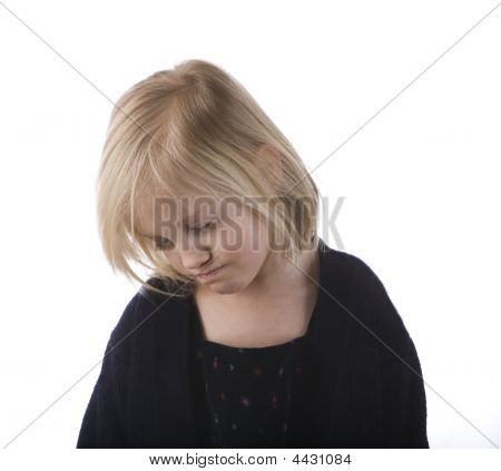 Sad Child In A Black Dress