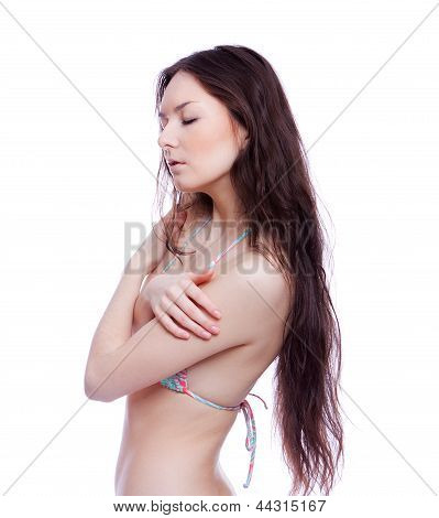 smile woman in bathing suit
