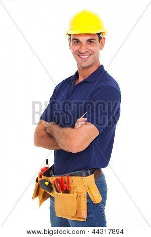 portrait of confident handyman crossed arms isolated on white