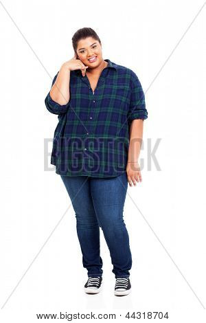 happy overweight woman doing call me sign isolated on white background