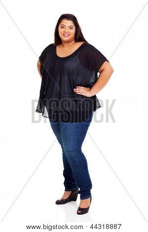 lovely female plus size woman full length portrait on white