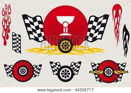 Racing emblems set