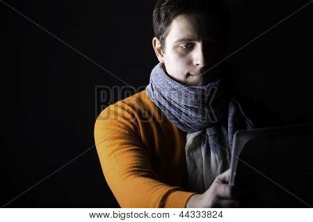 Man On Black Background Watch Something
