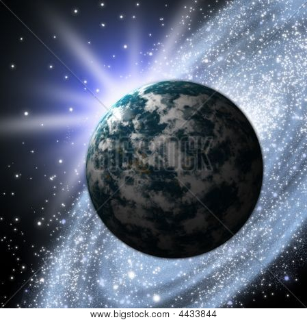 The Planet earth with flare in space poster