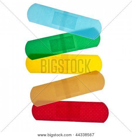 colored adhesive bandage plaster close up macro , isolated on a white background