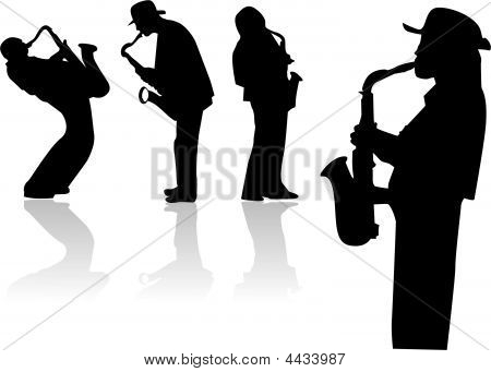 Vector Illustration With Siluette Of Saxophonists