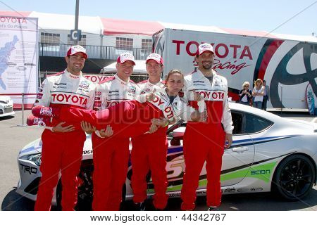LOS ANGELES - APR 9:  Jesse Metcalfe, Brett Davern, Jackson Rathbone, Jeremy Sisto, holding Kate del Castillo at the Toyota ProCeleb Race Press Day 2013 on April 9, 2013 in Long Beach, CA