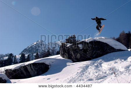Snowboard Rock Jump