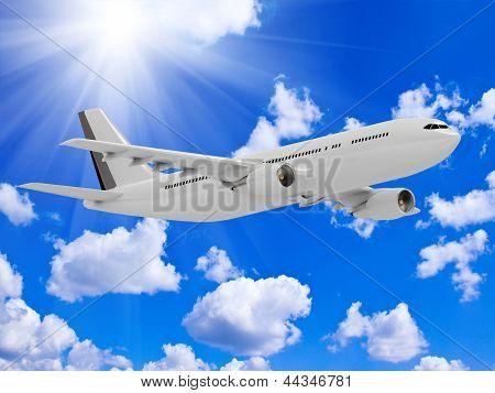 White Passenger Airliner Flies Under The Bright Sun